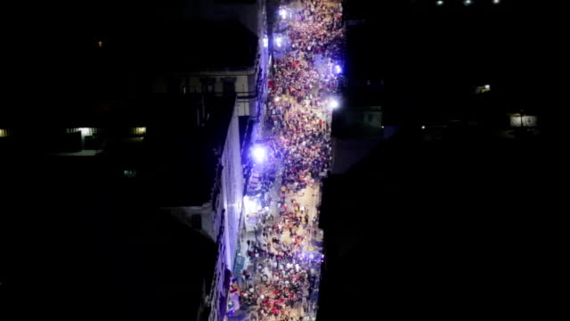 Aerial shot of crowd in the street video