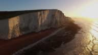 Aerial shot of Cuckmere Haven, sussex at Sunrise. video