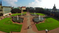 Aerial shot of cultural capital of Germany Dresden, Royal Palace. Beautiful aerial shot above Europe, culture and landscapes, camera pan dolly in the air. Drone flying above European land. Traveling sightseeing, tourist views of Germany. video