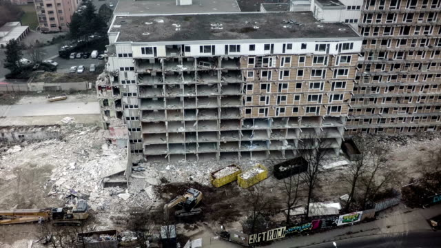 Aerial shot of destroyed building video