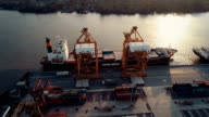 Aerial Shot of docked container ship video