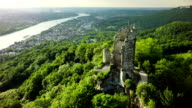 Aerial shot of Drachenfels Castle and Rhine River , Germany video