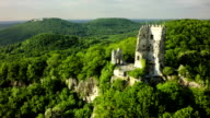 Aerial shot of Drachenfels Castle - Siebengebirge Germany video
