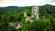 Aerial shot of Drachenfels with Castle in Germany video