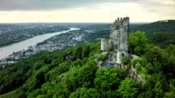 Aerial shot of Drachenfels with Rhine River in Germany video