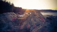 Aerial shot of evening sand pit video