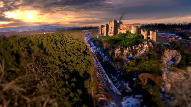 aerial shot of fantasy castle video