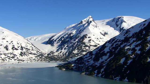 Aerial shot of glacier and mountain peaks, Alaska video