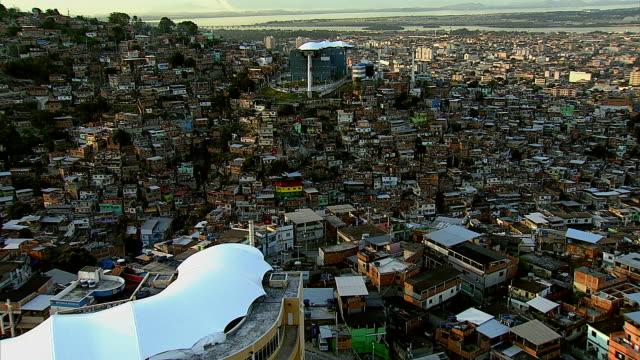 Aerial Shot Of Gondola Over Favela, Rio De Janeiro, Brazil video