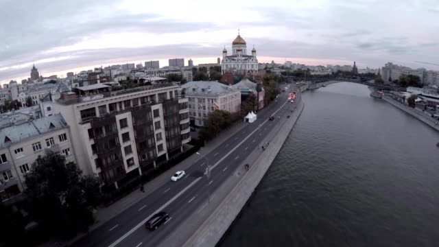 Aerial shot of grand building of Cathedral of Christ the Saviour. Famous Orthodox Christian church and Moscow view. Russia. video