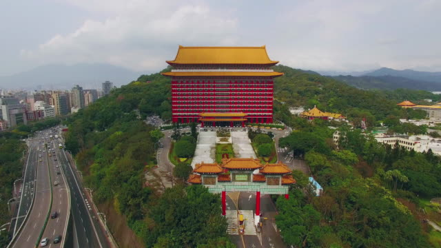 Aerial shot of Grand hotel in Taipei, Taiwan video