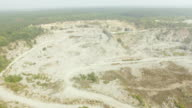 Aerial shot of granite extraction canyon video