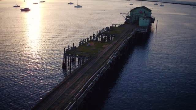 Aerial shot of Half Moon Bay Pier video