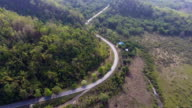 Aerial shot of  highway to the mountains video