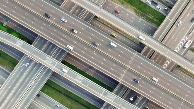 Aerial shot of Highway traffic in Bangkok Thailand video