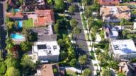 Aerial shot of Hollywood California neighborhood video