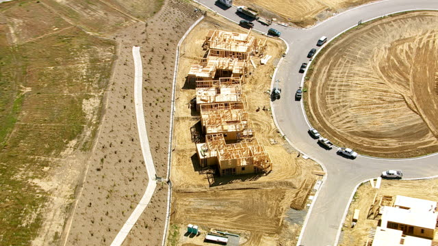 Aerial shot of home construction video