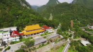 Aerial shot of Hsiangte temple and Tian feng tower inIn Taroko Gorge Taiwan video