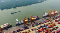 Aerial shot of Industrial port with containers ship video
