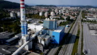 Aerial shot of industry plant video