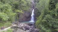 Aerial shot of Jok-ka-din Waterfall in Kanchanaburi, Thailand video