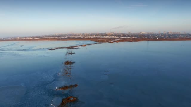 Aerial shot of Kuyalnik Estuary and Odessa city on background video