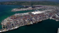 Aerial shot of large port video
