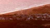 Aerial shot of Malibu, California at sunset video