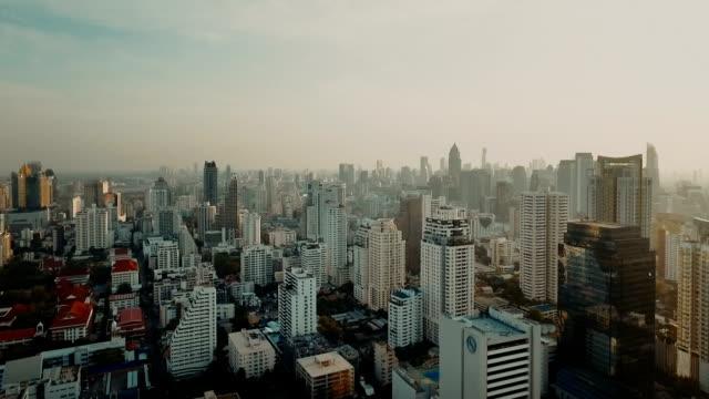 Aerial shot of modern bankok city skyline video