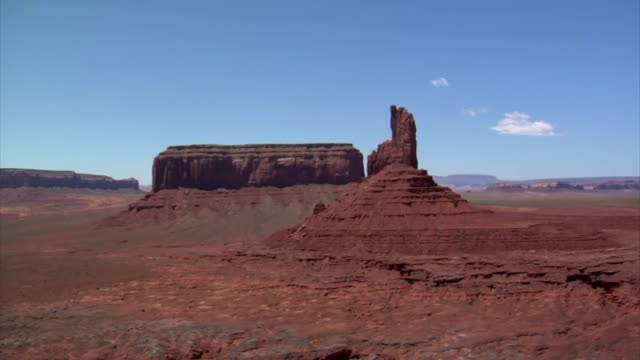 aerial shot of monument valley mittens with helicopter door video