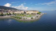 Aerial shot of Neuchatel - Switzerland video