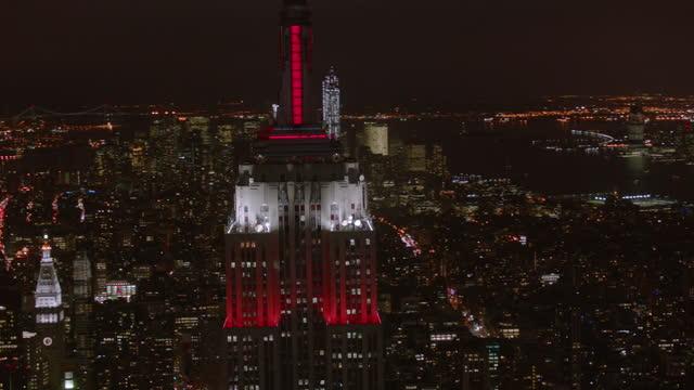 Aerial shot of New York City at night video