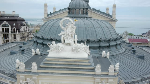 Aerial shot of Odessa Opera House. The roof and facade. video