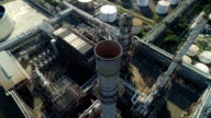 Aerial shot of off oil refinery video