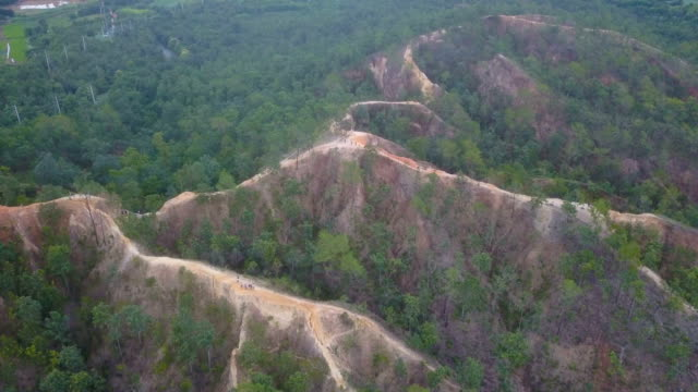 Aerial Shot of Pai canyon one of landmark in Maehongson, Thailand. video