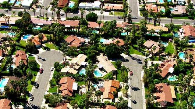 Aerial shot of Palm Springs, California neighborhood video