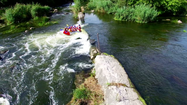 Ukraine - August 24: Aerial shot of people in the boat for rafting down the rapids of the river South Bugon August 24 2015. Migiya, Nikolaev, Ukraine. video