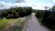 Aerial shot of road and forest while skaters drives through video