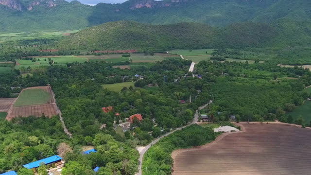 Aerial shot of rural landscape with sunny day. video