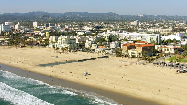 Aerial shot of Santa Monica Beach video