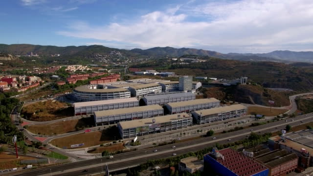 Aerial shot of shopping centres in Barcelona video