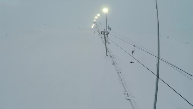 Aerial shot of ski lift and lampposts video