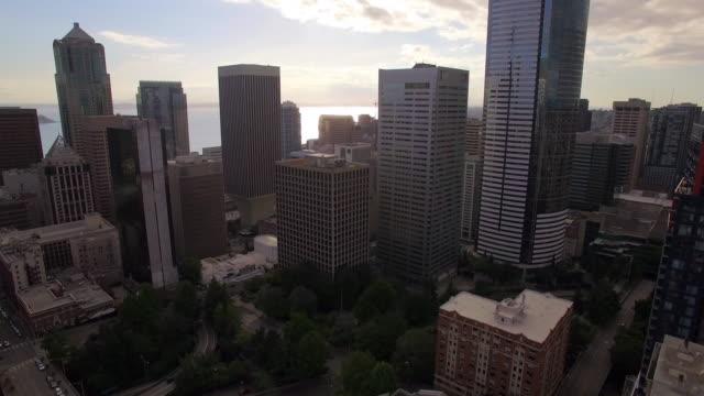 Aerial Shot of Skyscraper Buildings in Seattle Financial District video