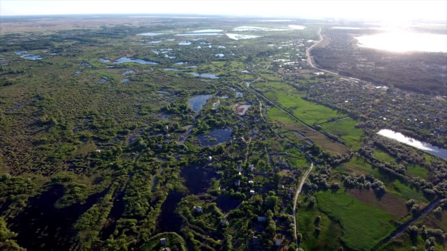 Aerial shot of small and big lakes and reedbeds with a lot of cane, in Ukraine video