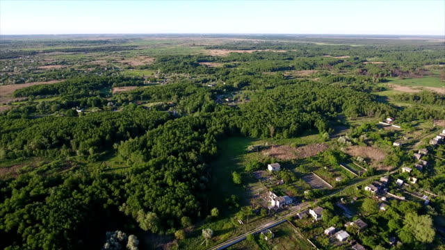 Aerial shot of small lakes, small cottages, and reedbeds in Ukraine in summer video
