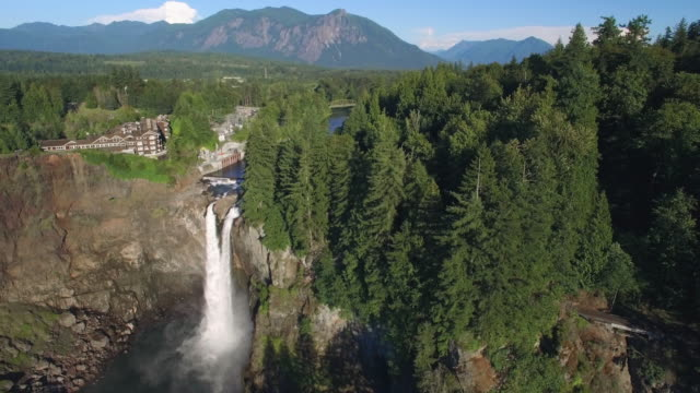 Aerial Shot of Snoqualmie Falls, Washington Framed for Commercial with Space for Text video