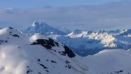 Aerial shot of snow covered mountains, Alaska video