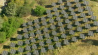 Aerial shot of solar panels on hillside video