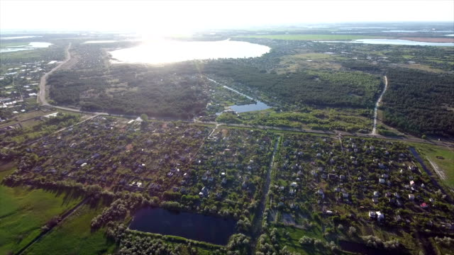 Aerial shot of summer cottages, big and small lakes in the south of Ukraine video