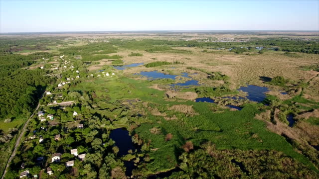 Aerial shot of summer cottages, small lakes and reed bed in the south of Ukraine video